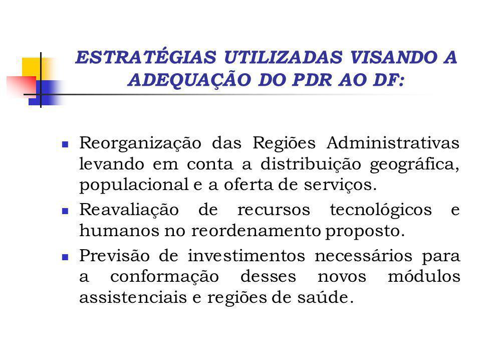 ESTRATÉGIAS UTILIZADAS VISANDO A ADEQUAÇÃO DO PDR AO DF: