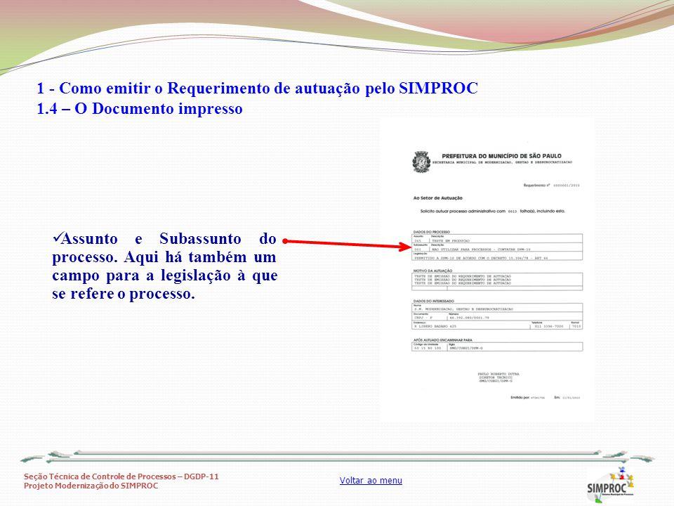 1 - Como emitir o Requerimento de autuação pelo SIMPROC