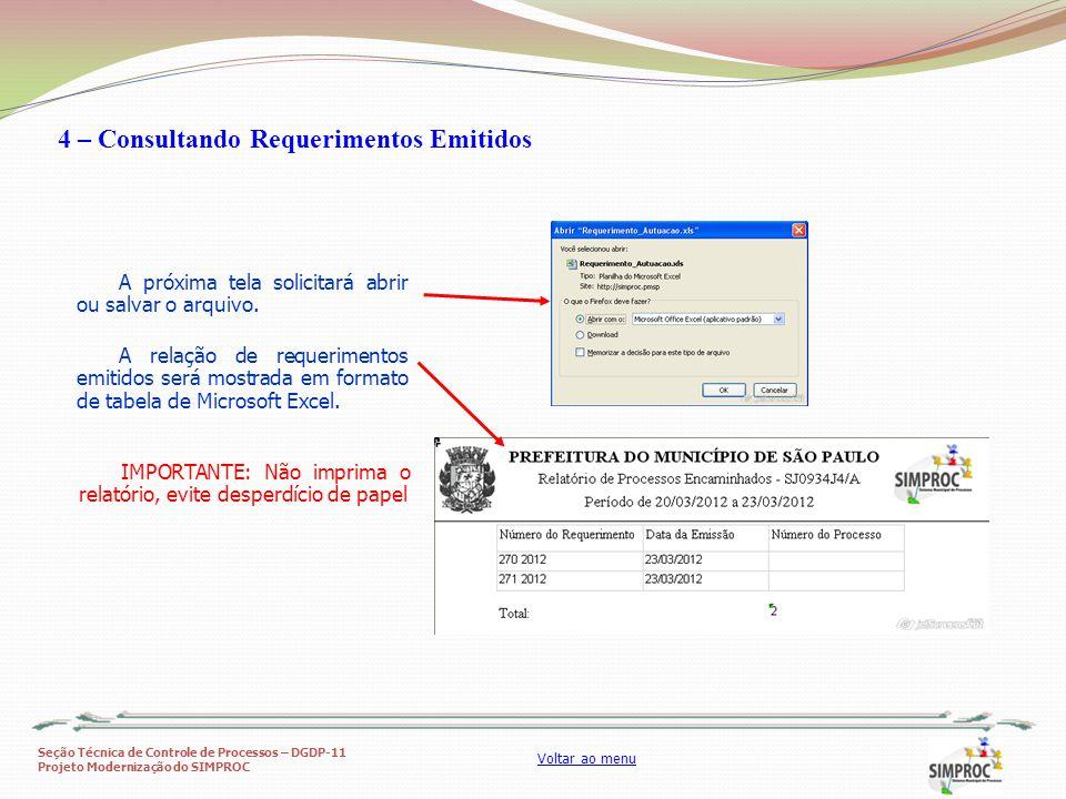 4 – Consultando Requerimentos Emitidos