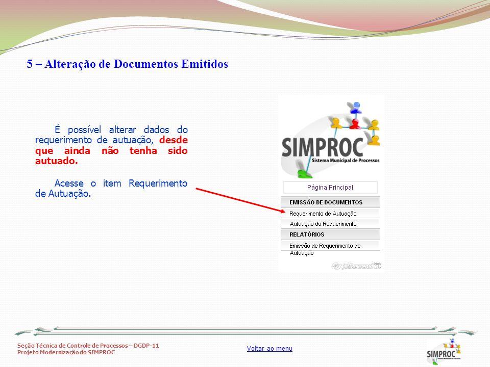 5 – Alteração de Documentos Emitidos