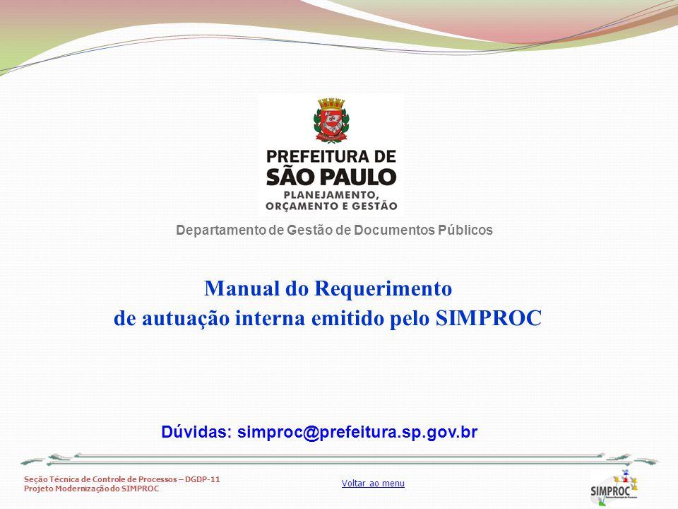 Manual do Requerimento de autuação interna emitido pelo SIMPROC