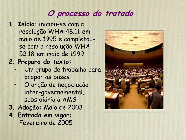O processo do tratado 1. Início: iniciou-se com a resolução WHA 48.11 em maio de 1995 e completou- se com a resolução WHA 52.18 em maio de 1999.