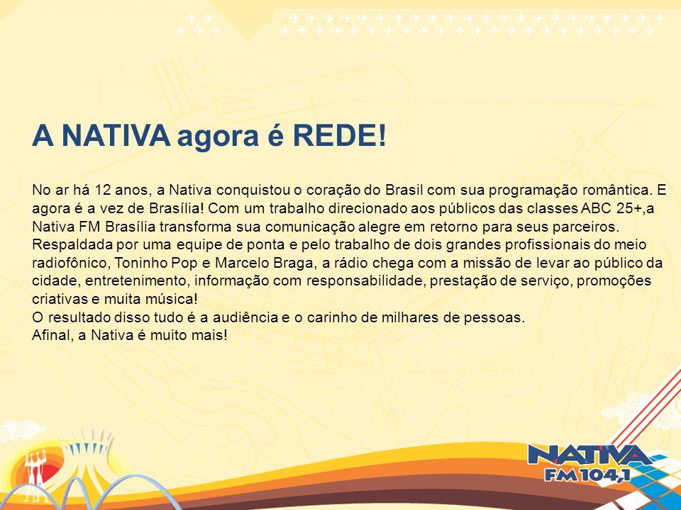 A NATIVA agora é REDE! No ar há 12 anos, a Nativa conquistou o coração do Brasil com sua programação romântica. E.