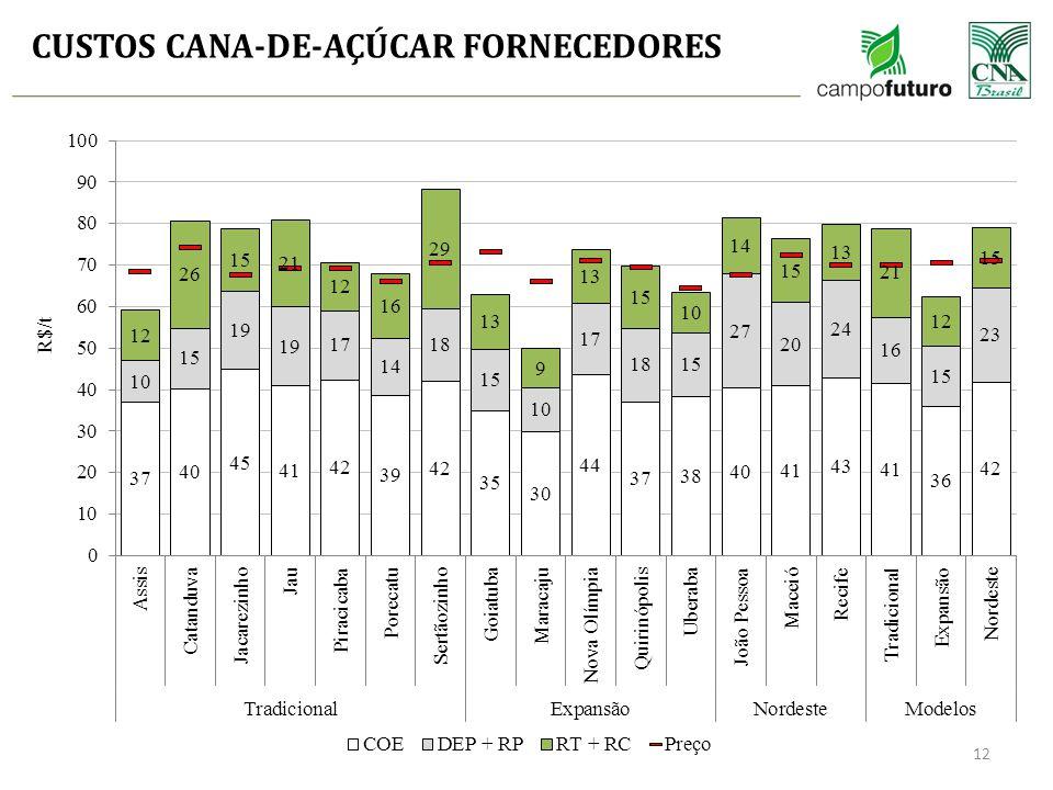 CUSTOS CANA-DE-AÇÚCAR FORNECEDORES