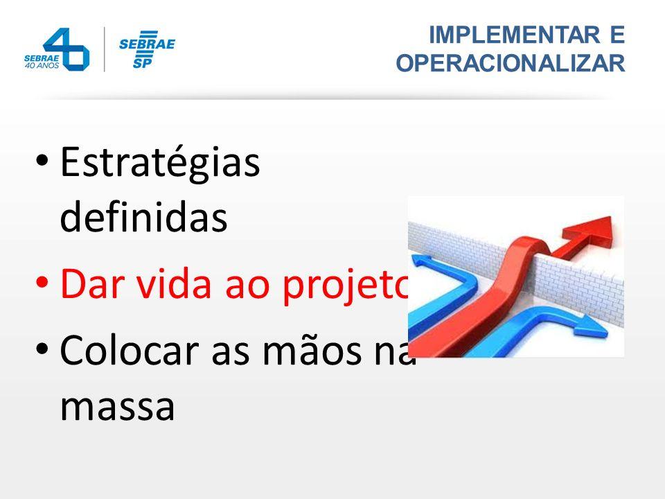Estratégias definidas Dar vida ao projeto Colocar as mãos na massa