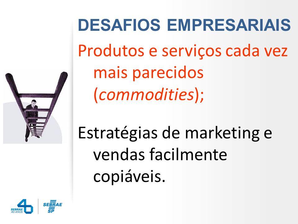 Produtos e serviços cada vez mais parecidos (commodities);