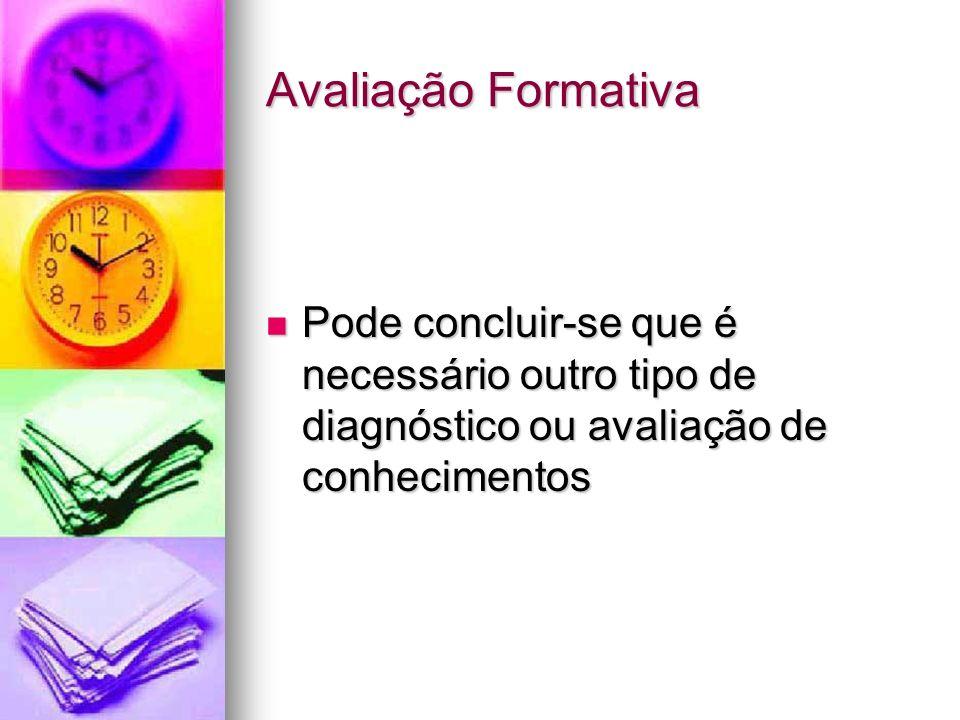 Avaliação Formativa Pode concluir-se que é necessário outro tipo de diagnóstico ou avaliação de conhecimentos.