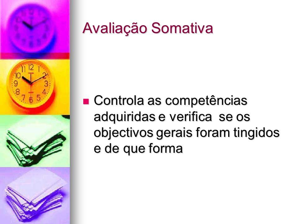 Avaliação Somativa Controla as competências adquiridas e verifica se os objectivos gerais foram tingidos e de que forma.