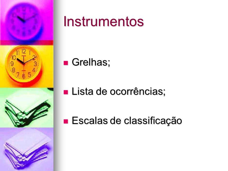 Instrumentos Grelhas; Lista de ocorrências; Escalas de classificação