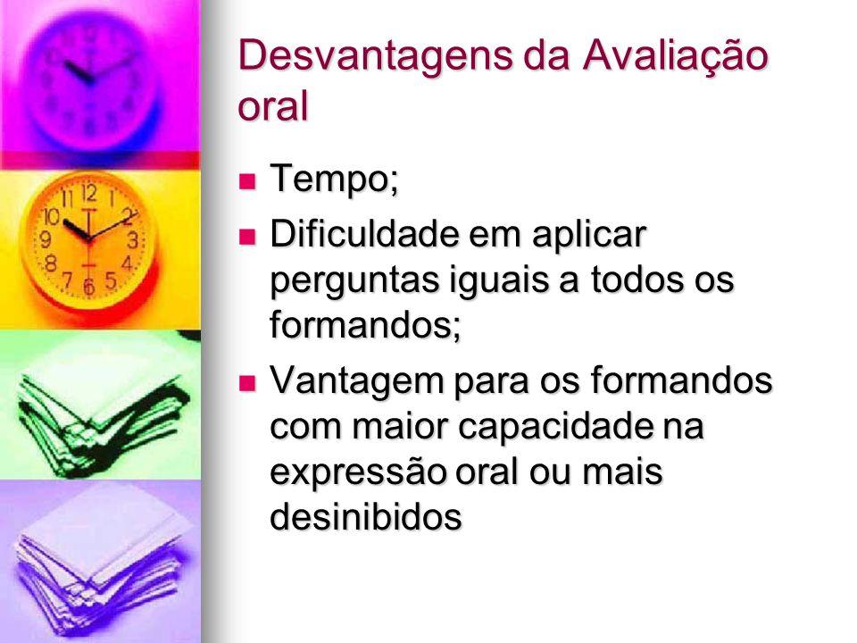 Desvantagens da Avaliação oral
