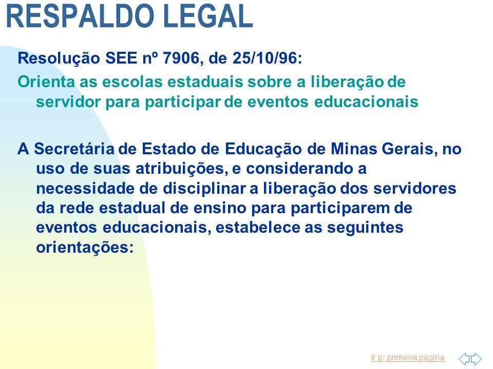 RESPALDO LEGAL Resolução SEE nº 7906, de 25/10/96: