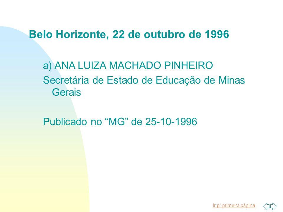 Belo Horizonte, 22 de outubro de 1996
