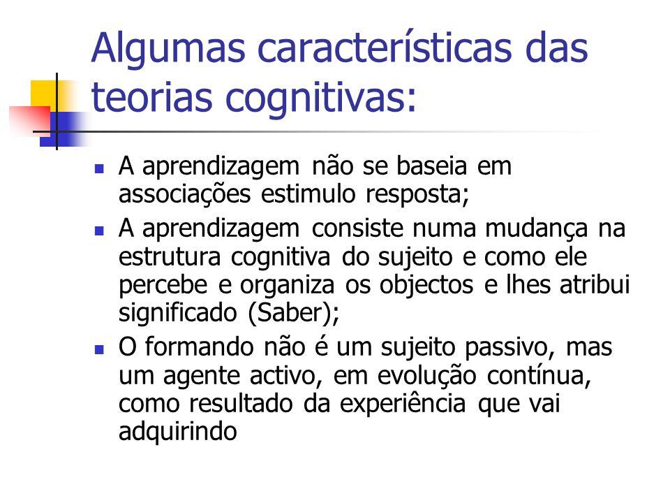 Algumas características das teorias cognitivas: