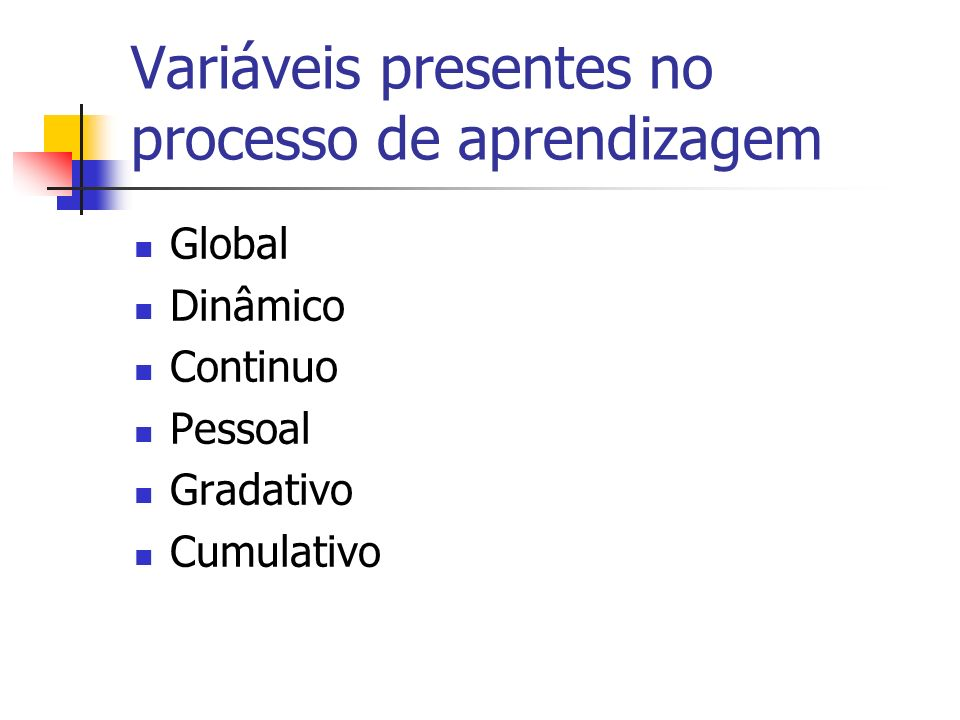 Variáveis presentes no processo de aprendizagem