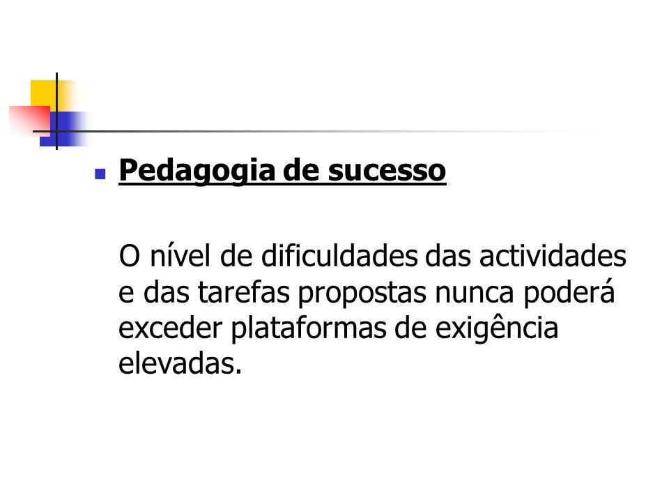 Pedagogia de sucessoO nível de dificuldades das actividades e das tarefas propostas nunca poderá exceder plataformas de exigência elevadas.