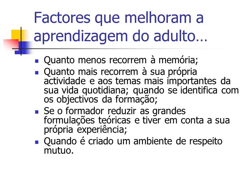 Factores que melhoram a aprendizagem do adulto…