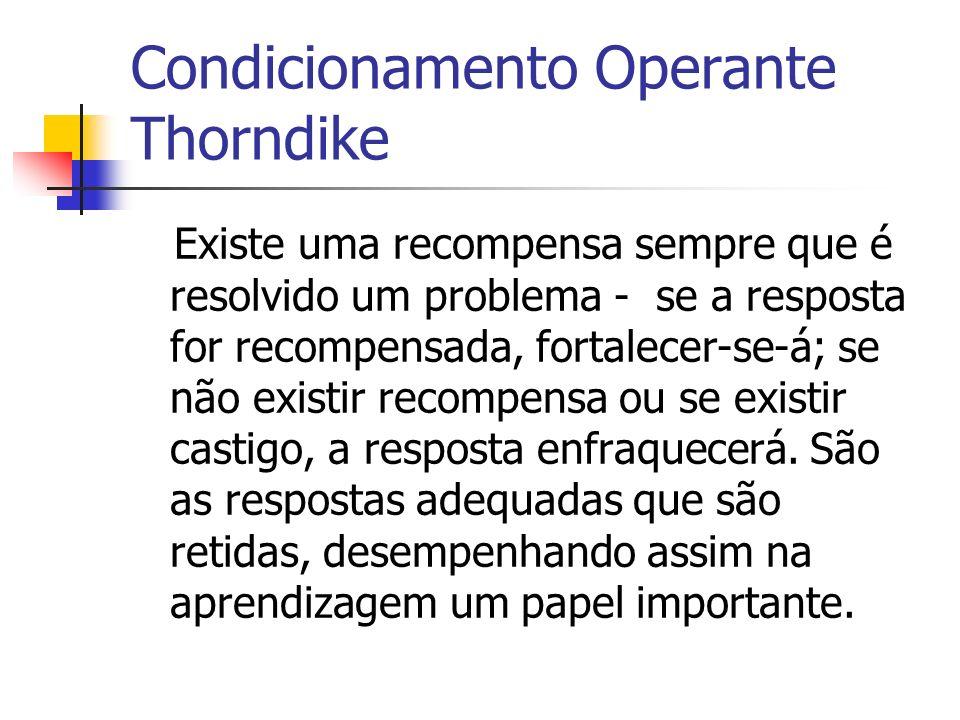 Condicionamento Operante Thorndike
