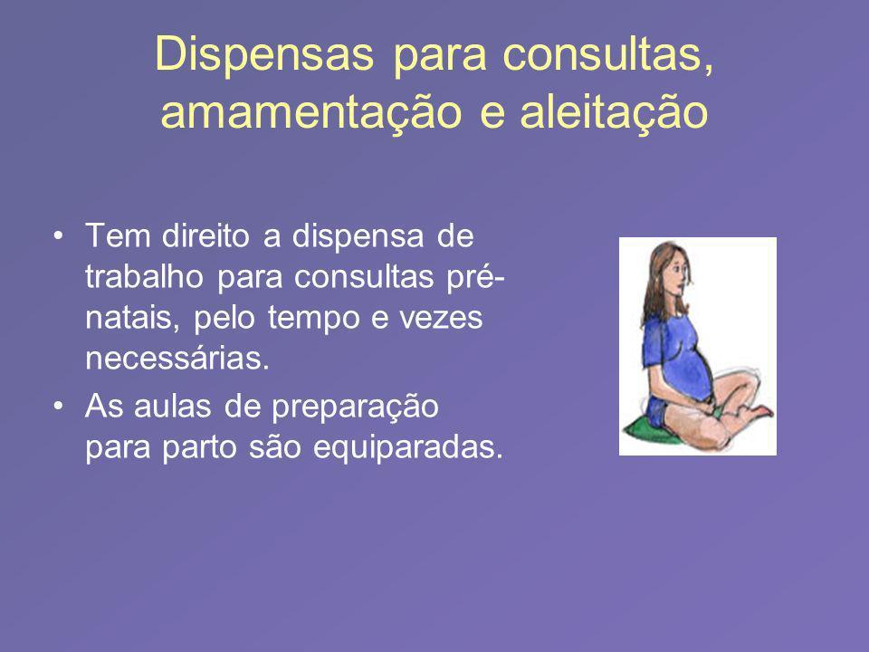 Dispensas para consultas, amamentação e aleitação