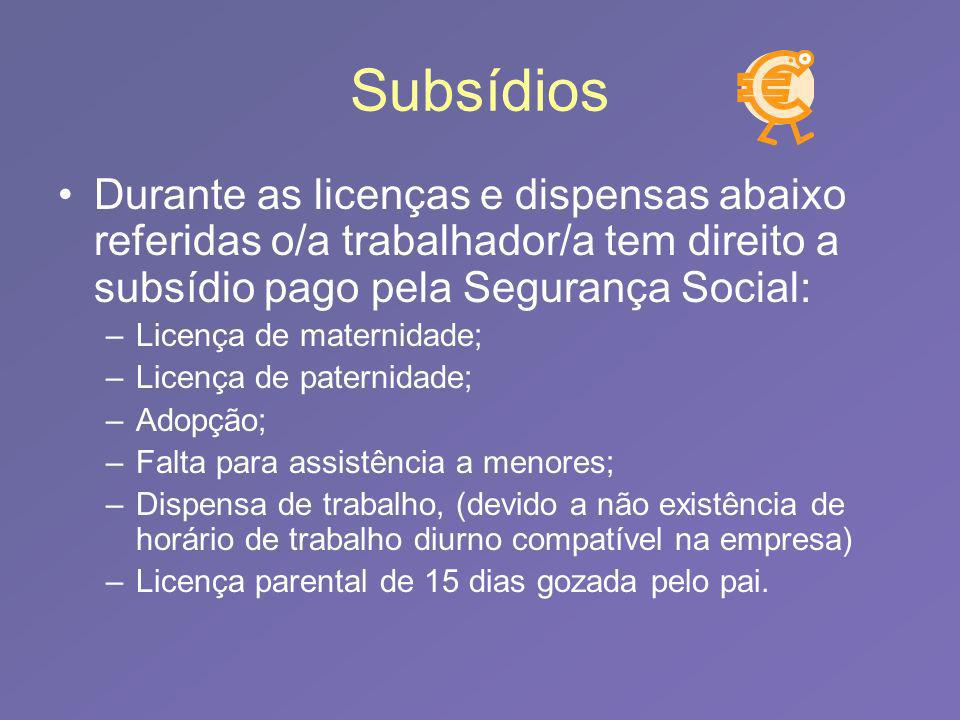 Subsídios Durante as licenças e dispensas abaixo referidas o/a trabalhador/a tem direito a subsídio pago pela Segurança Social: