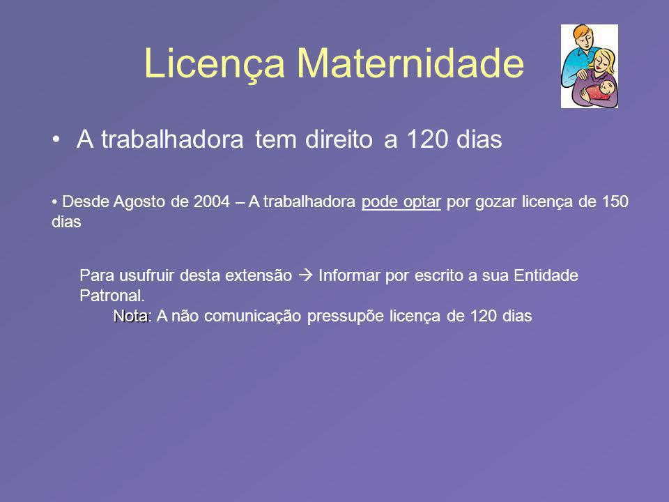 Licença Maternidade A trabalhadora tem direito a 120 dias