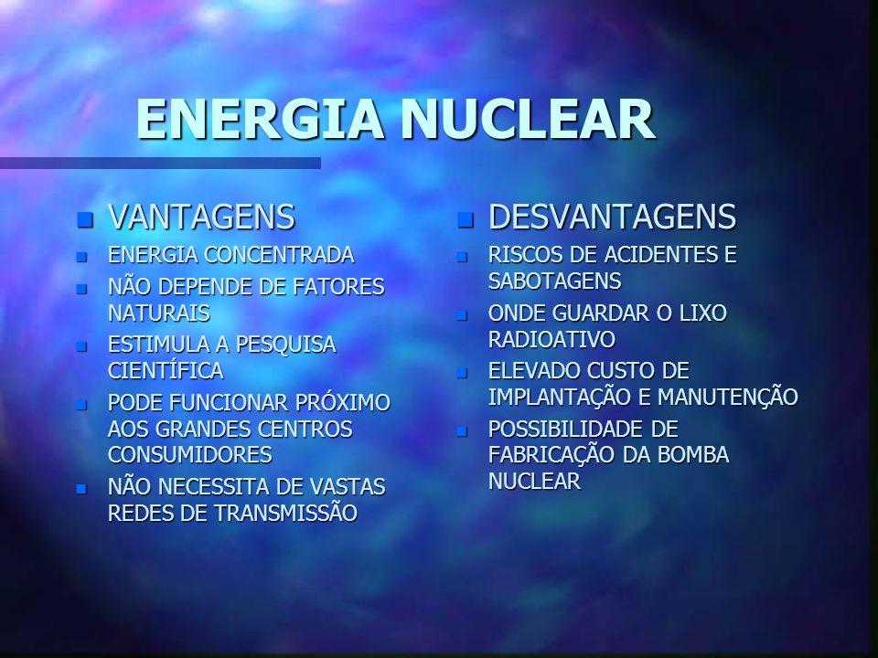 ENERGIA NUCLEAR VANTAGENS DESVANTAGENS ENERGIA CONCENTRADA