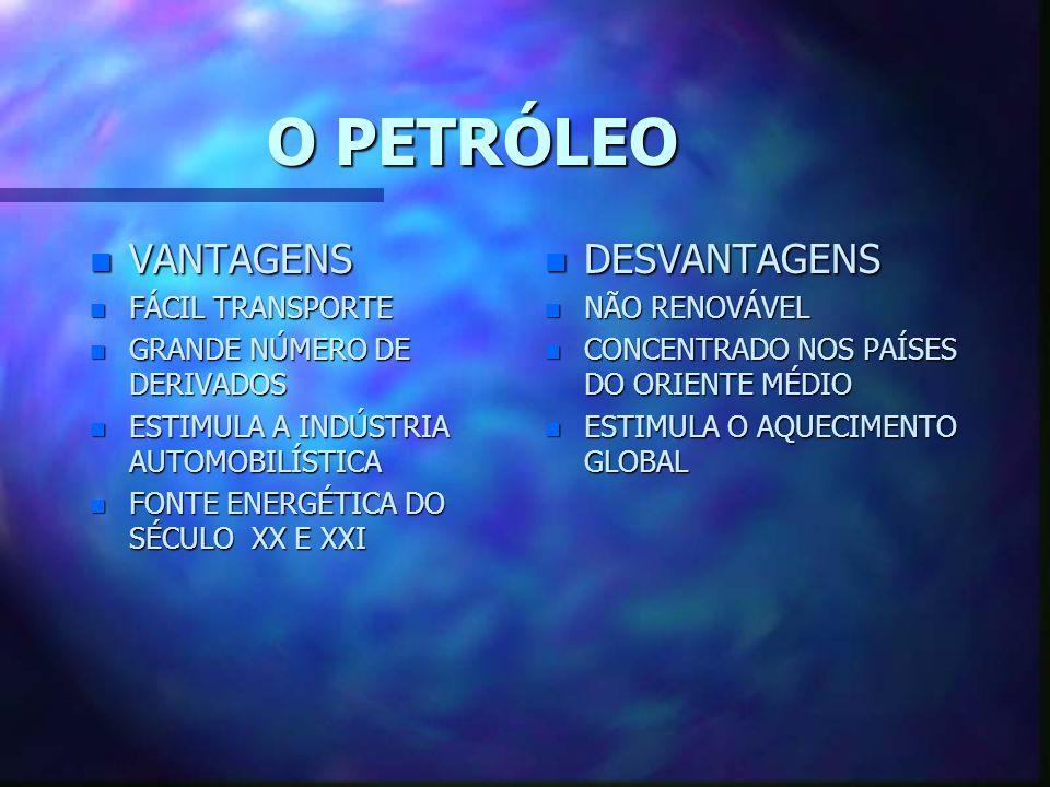 O PETRÓLEO VANTAGENS DESVANTAGENS FÁCIL TRANSPORTE