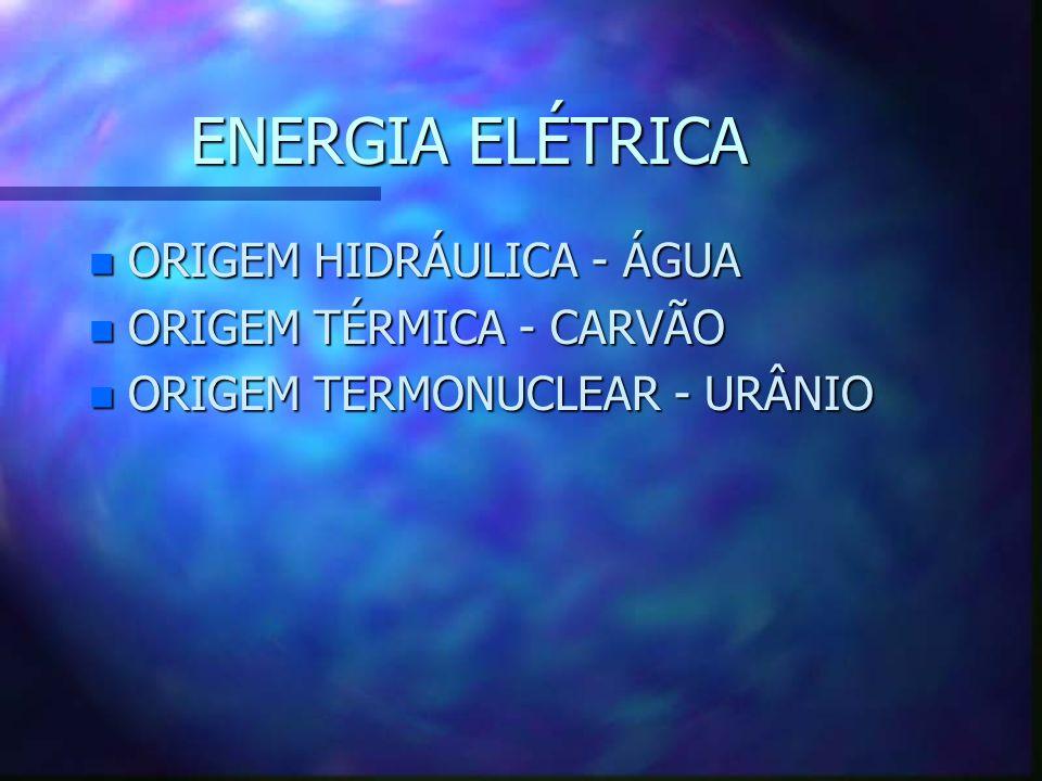 ENERGIA ELÉTRICA ORIGEM HIDRÁULICA - ÁGUA ORIGEM TÉRMICA - CARVÃO