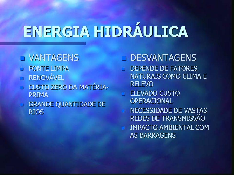 ENERGIA HIDRÁULICA VANTAGENS DESVANTAGENS FONTE LIMPA RENOVÁVEL