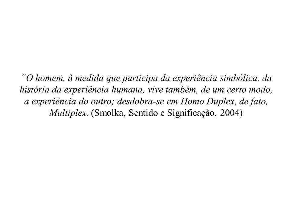 O homem, à medida que participa da experiência simbólica, da história da experiência humana, vive também, de um certo modo, a experiência do outro; desdobra-se em Homo Duplex, de fato, Multiplex.