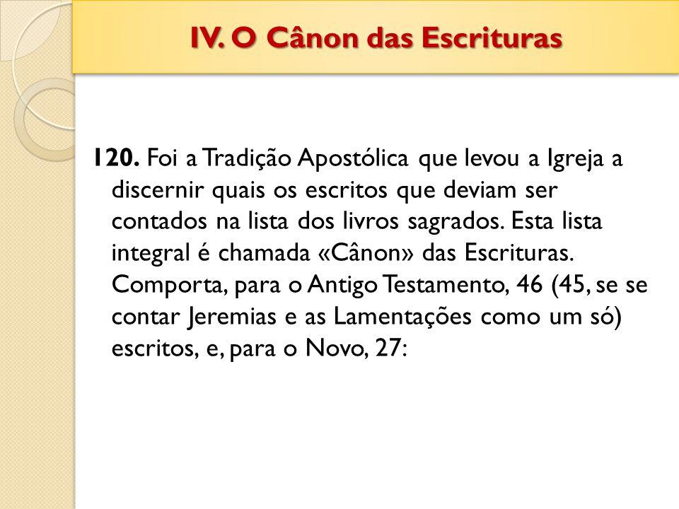 IV. O Cânon das Escrituras