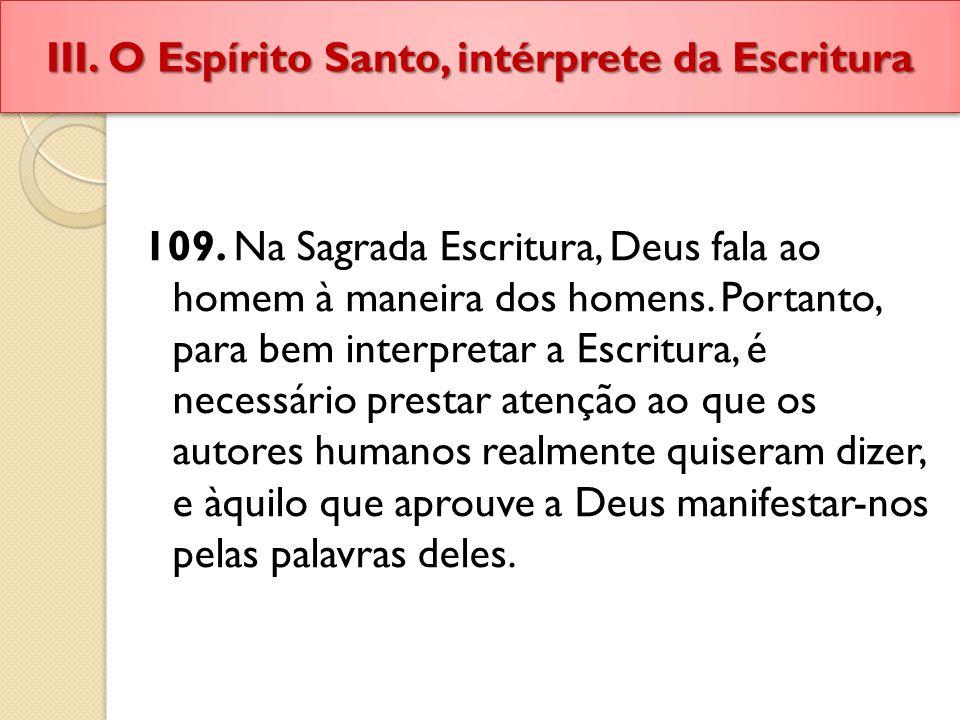 III. O Espírito Santo, intérprete da Escritura
