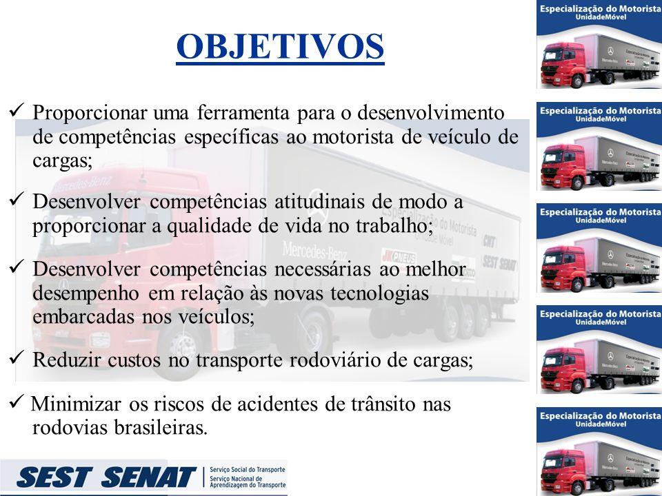 OBJETIVOS Proporcionar uma ferramenta para o desenvolvimento de competências específicas ao motorista de veículo de cargas;