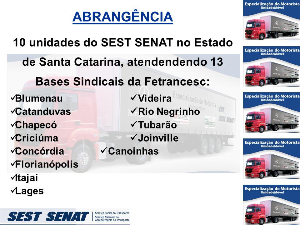 ABRANGÊNCIA 10 unidades do SEST SENAT no Estado de Santa Catarina, atendendendo 13 Bases Sindicais da Fetrancesc: