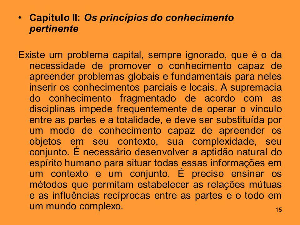 Capítulo II: Os princípios do conhecimento pertinente