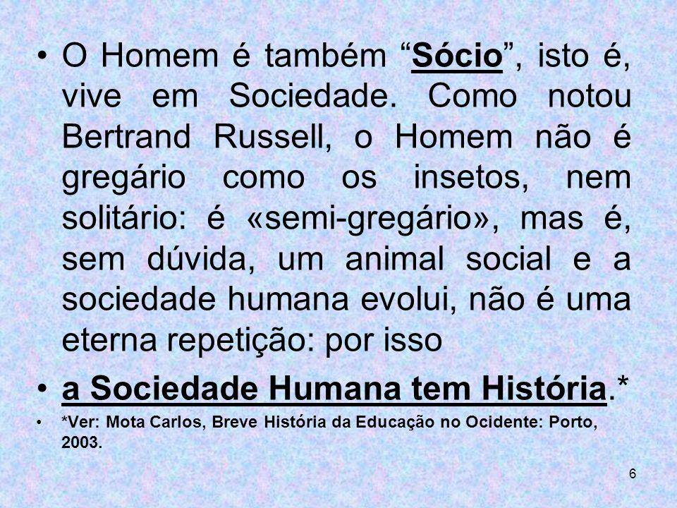 a Sociedade Humana tem História.*