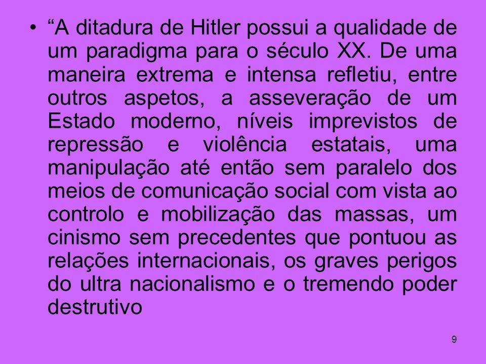 A ditadura de Hitler possui a qualidade de um paradigma para o século XX.