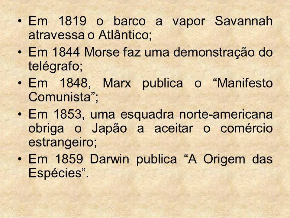 Em 1819 o barco a vapor Savannah atravessa o Atlântico;