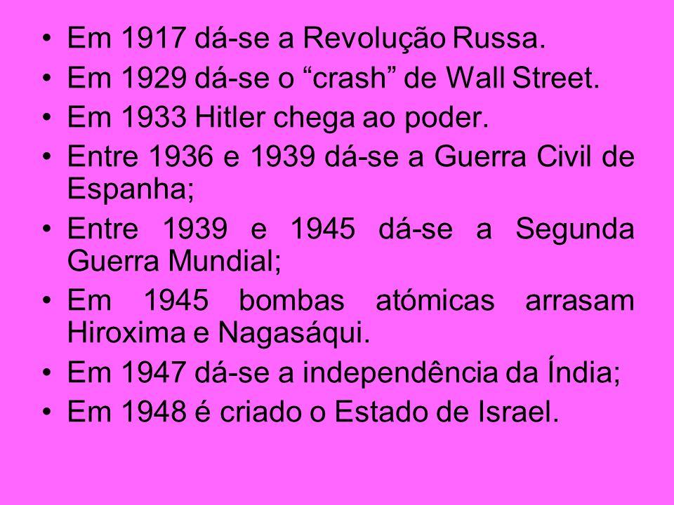 Em 1917 dá-se a Revolução Russa.