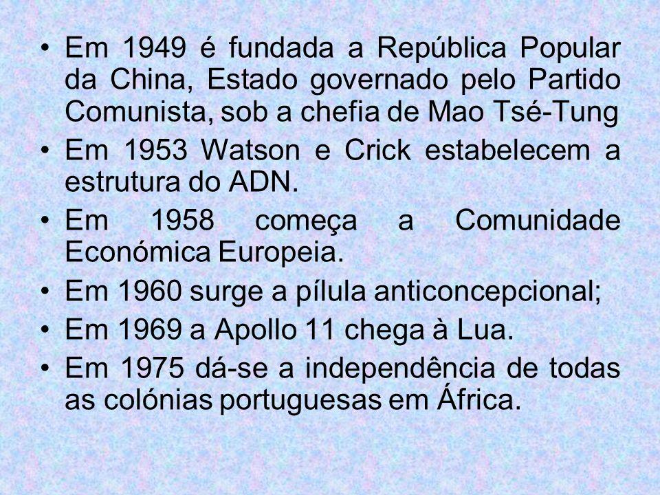 Em 1949 é fundada a República Popular da China, Estado governado pelo Partido Comunista, sob a chefia de Mao Tsé-Tung