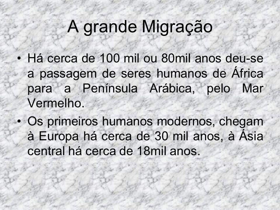 A grande Migração Há cerca de 100 mil ou 80mil anos deu-se a passagem de seres humanos de África para a Península Arábica, pelo Mar Vermelho.
