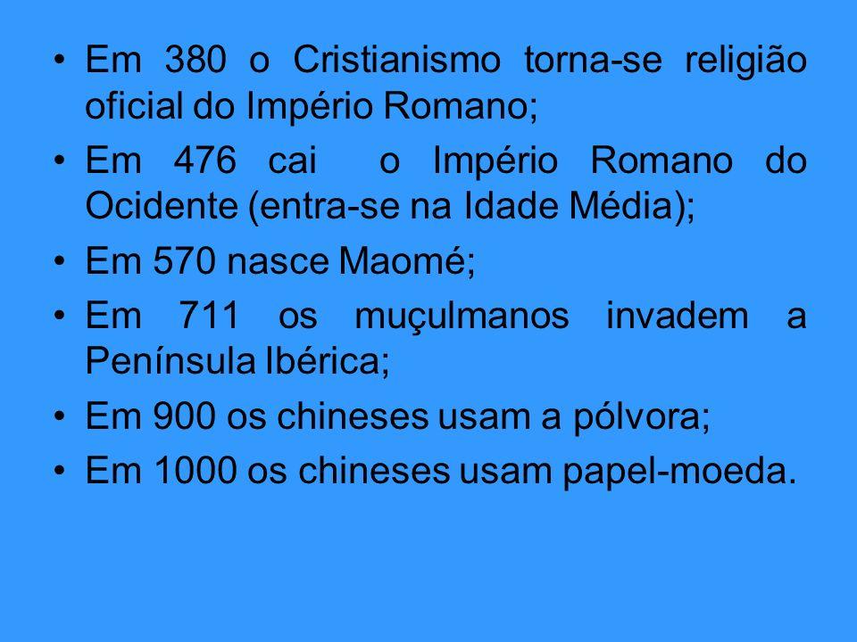 Em 380 o Cristianismo torna-se religião oficial do Império Romano;