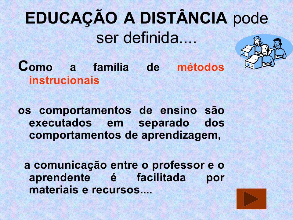 EDUCAÇÃO A DISTÂNCIA pode ser definida....