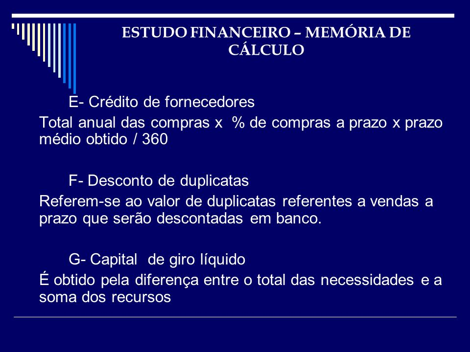 ESTUDO FINANCEIRO – MEMÓRIA DE CÁLCULO