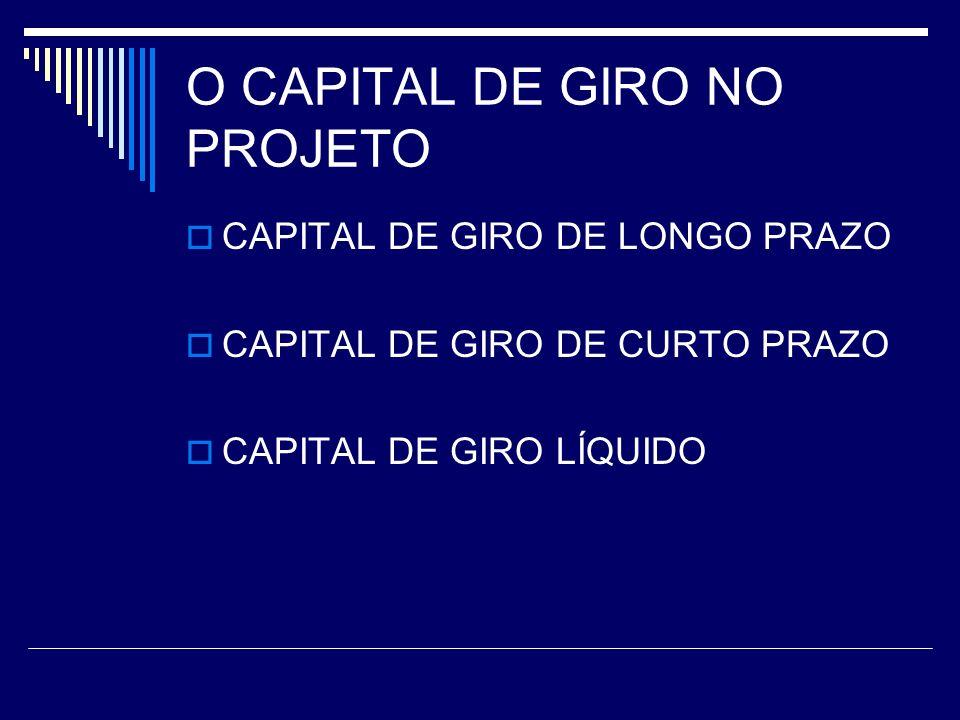 O CAPITAL DE GIRO NO PROJETO