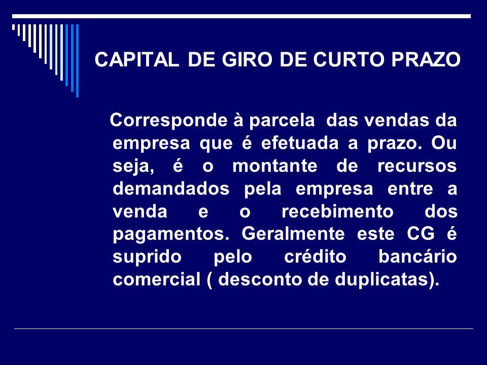 CAPITAL DE GIRO DE CURTO PRAZO