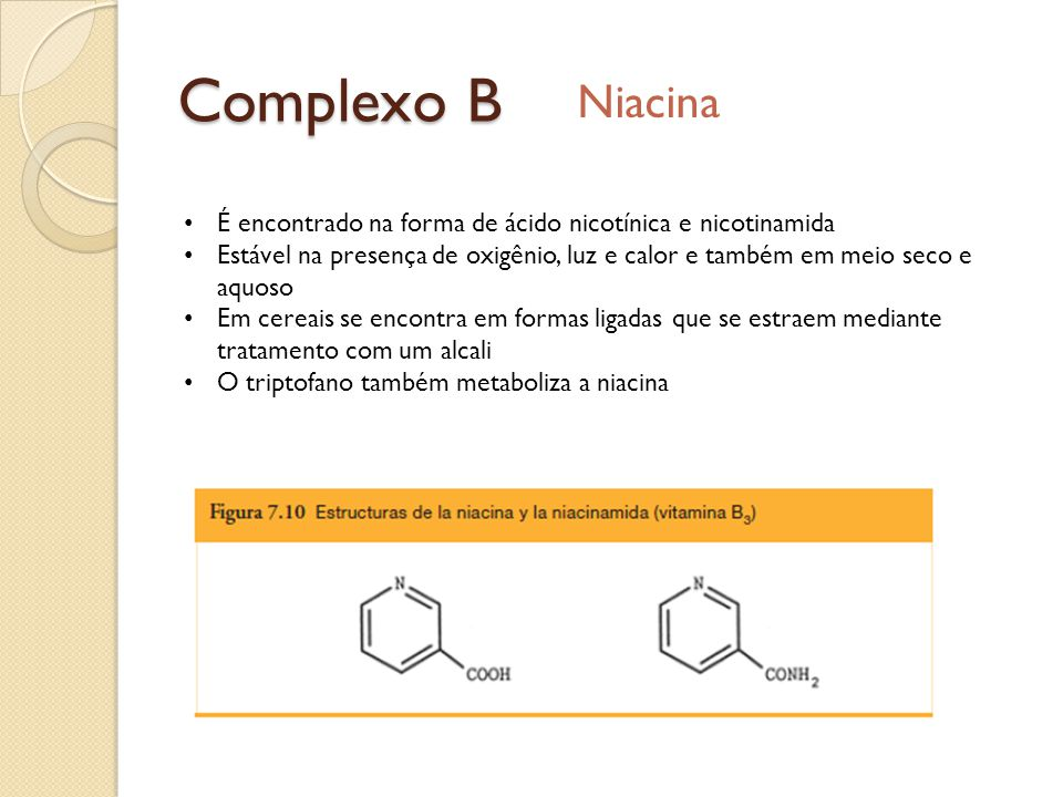 Complexo B Niacina. É encontrado na forma de ácido nicotínica e nicotinamida.