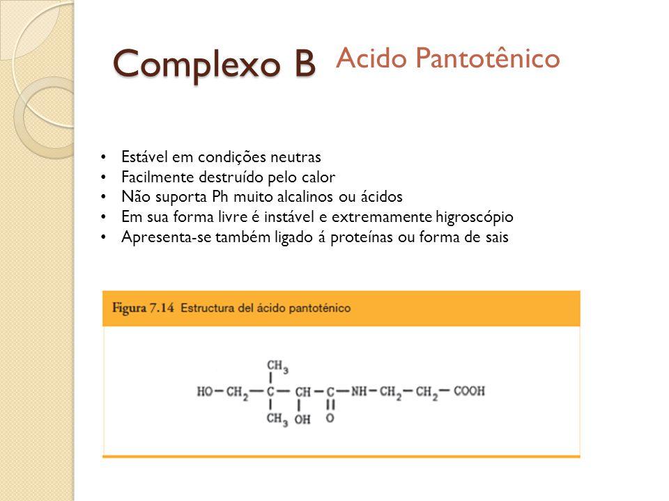 Complexo B Acido Pantotênico Estável em condições neutras