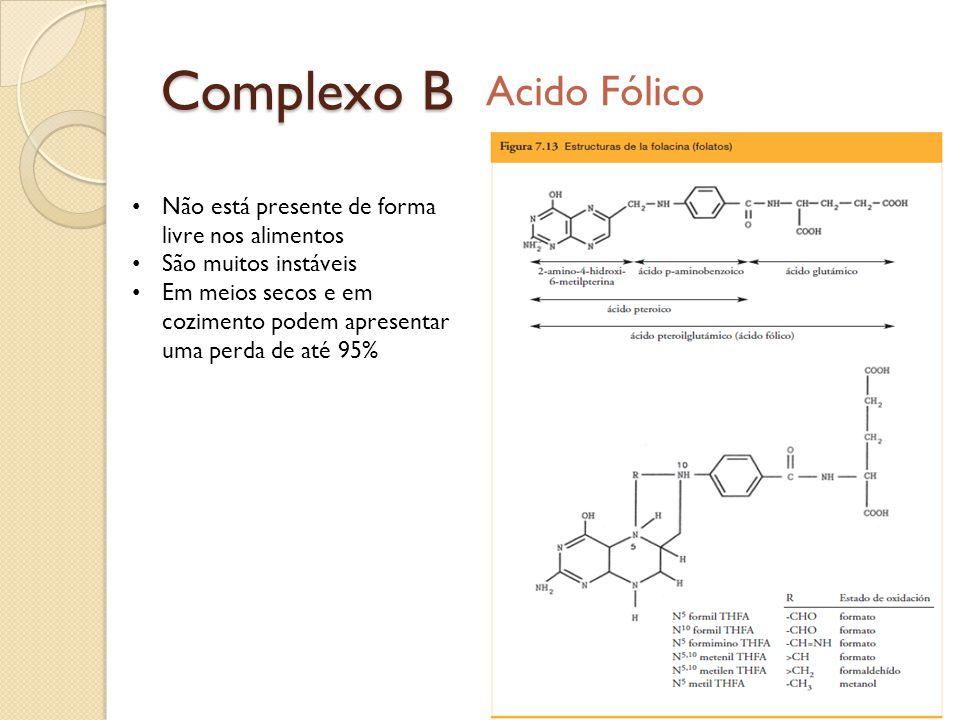 Complexo B Acido Fólico Não está presente de forma livre nos alimentos