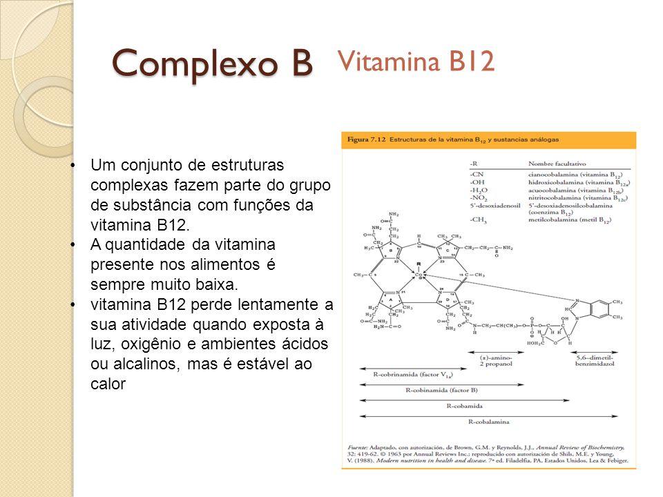 Complexo B Vitamina B12. Um conjunto de estruturas complexas fazem parte do grupo de substância com funções da vitamina B12.