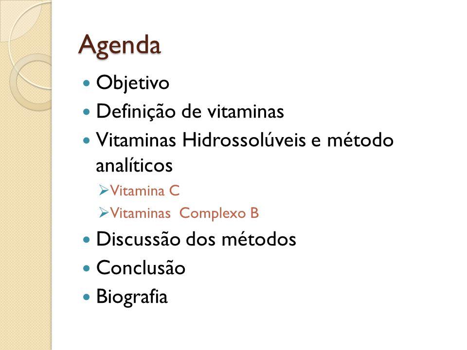 Agenda Objetivo Definição de vitaminas